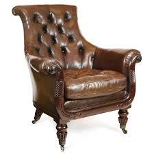 george smith armchair english regency gillows tufted brown leather overscale club
