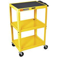 Metal Adjustable Shelving Luxor W42aye Yellow Metal 3 Shelf A V Utility Cart 18