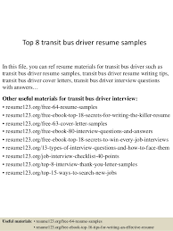 Sample Driver Resume by Top 8 Transit Bus Driver Resume Samples 1 638 Jpg Cb U003d1432975688
