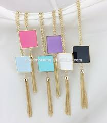 monogram acrylic necklace personalized monogram square acrylic pendant tassel necklace view