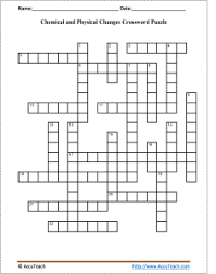 chemical and physical changes crossword puzzle
