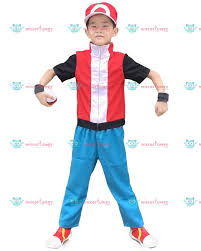 pokemon x and y ash ketchum red kids cosplay costume for sale