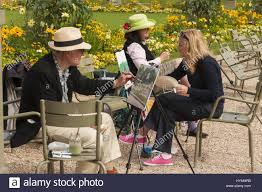 People Painting by France Paris Jardin De Luxembourg Gardens People Painting Stock