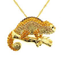 topaz crystal necklace images Golden chameleon crystal brooch pendant fantasyard costume jpg