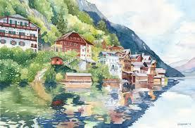 hallstatt austria original painting anne bradham