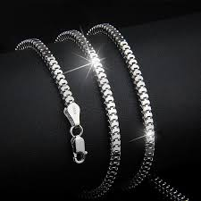 solid sterling silver necklace images 2 4mm width solid 925 silver necklace sterling silver square jpg