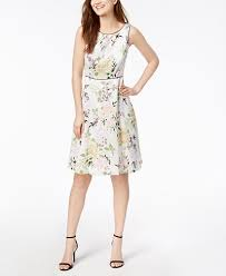 model dress nine west floral print a line dress dresses women macy s