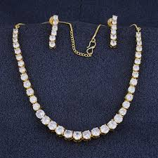 ladies necklace designs images Designer gold plated cz copper necklace set for ladies and girls JPG