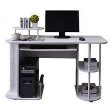 bureau avec tablette coulissante bureau informatique avec tablette coulissante et étagères blanc