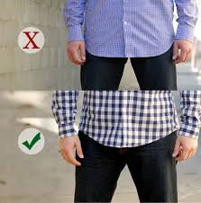 how long should the front be of an untucked button up shirt primer