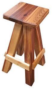 Western Red Cedar Outdoor Furniture by Gronomics Western Red Cedar Swivel Bar Stool Contemporary