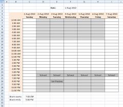 Excel Weekly Schedule Template Schedule Recurring Events In A Weekly Schedule In Excel