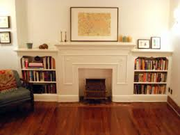 Mantel Bookshelf Living Room Picture Frame Candle Holder Hardwood Flooring