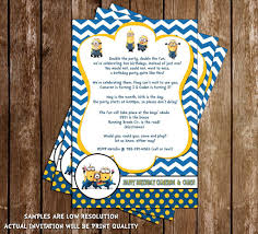 Minions Invitation Card Novel Concept Designs The Minions Despicable Me Birthday Thank