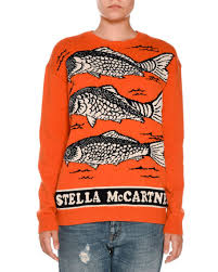 fish sweater stella mccartney fish logo intarsia sweater orange neiman