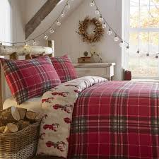 fusion tartan stag brushed cotton duvet cover set red