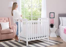 Mini Crib White Classic Mini Crib With Mattress Convertible To Bed Delta