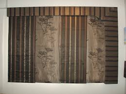 double rail brown fabric sliding panel curtain with four panels