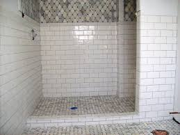 marble subway tile shower offering the sense of elegance homesfeed doorless walk in shower with ceramic marble subway tile shower combined with bathroom tile for wall