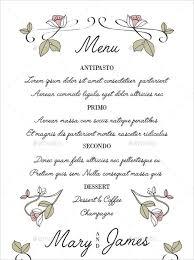 menu template wedding 37 wedding menu template free sle exle format