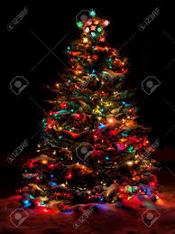 christmas tree with colored lights snow covered christmas tree with multi colored lights stock photo