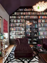 astounding purple home library with tufted sofa bed also wall book