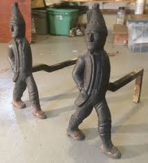 Antique Brass Fireplace Andirons by Antique Circa 1880 Fireplace Andirons Hessian Soldier Figurines