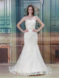 rexana allover lace mermaid wedding dress with sash and buttons back