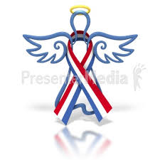 white blue ribbon angel outline white blue ribbon signs and symbols great