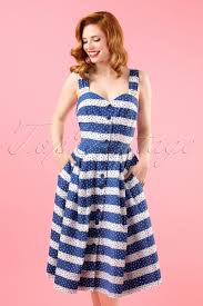 50s jenny pin dots and stripes dress in navy and white