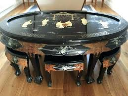 table with stools underneath oriental coffee table round coffee table with stools underneath