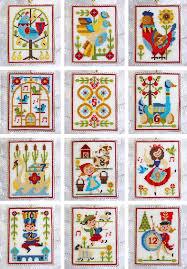 set of four square frames cross stitch pattern redwork ornament
