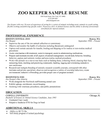 Sample Resume With One Job Experience by Zoo Keeper Sample Resume One Of The Only Ones I Can Find Online