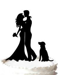 wedding cake topper with dog family wedding cake topper and groom silhouette wedding