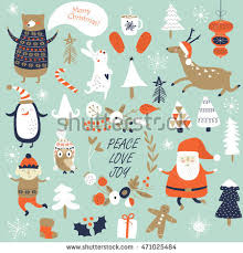 christmas cards cute santa claus trees stock vector 471025484