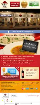 newsletter cuisine indian hut restaurant newsletter design