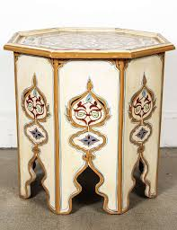 moroccan octagonal hand painted cream color side table at 1stdibs