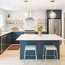 houzz blue kitchen cabinets 75 beautiful mid century modern kitchen with blue cabinets