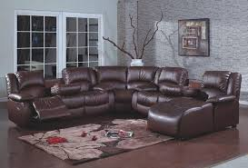 Chaise Lounge Sofa With Recliner 4 Pc Brown Bonded Leather Sectional Sofa With Recliners And Chaise