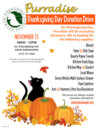 thanksgiving day purradise donation drive berkshire humane society