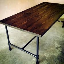 galvanized pipe table legs furniture design dark wooden table with black metal galvanized pipe