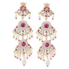 rajputi earrings set multi pearl strand collar necklace