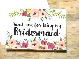 bridesmaid thank you card floral thank you for being my