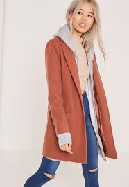 short tailored faux wool coat brown missguided