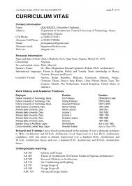Format Of Latest Resume Latest Cv Format In Nigeria Resume Template Example