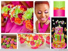 nigerian wedding fuchsia pink lime and orange wedding color
