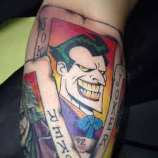 colorful two face joker tattoo tattoo design ideas