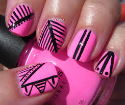 pink and black nail art cute nails for women