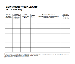 20 maintenance log book template free monthly schedule template