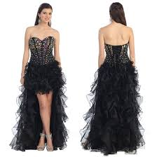 Awesome Prom Dresses Strapless Beaded Corset Black High Low Prom Dresses 2017